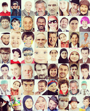 Many faces wall composition