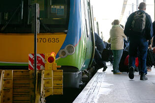 People getting ready to board the train