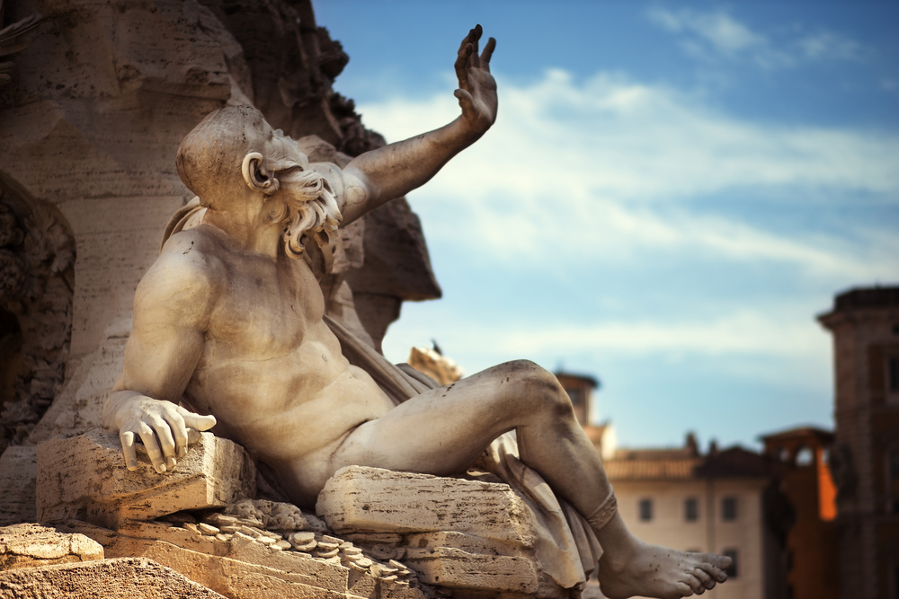 Statue in Fountain, Piazza Navona, Rome, Italy