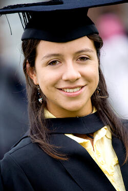 portrait of a female graduating at university